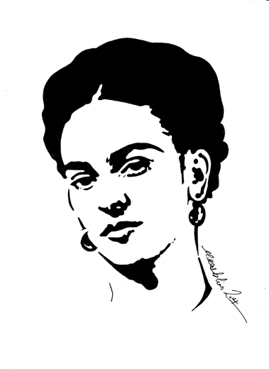 Frida kahlo 2014 indian ink drawing on a4 card £100 shipping for all orders outside the uk please click overseas to buy now